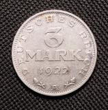 3 Mark 1922 A mit Umschrift auf dem Revers Weimarer Republik