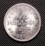 1/2 Million Mark 1923 August J Weimar Republik Notgeld Hamburg
